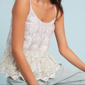 ANTHROPOLOGIE Feather Bone Gemma Eyelet Camisole 2
